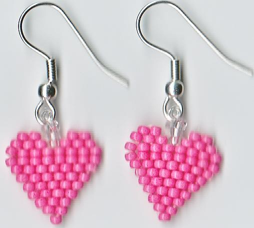 Valentines Beaded Rose Pink Heart Seed Beads Earrings