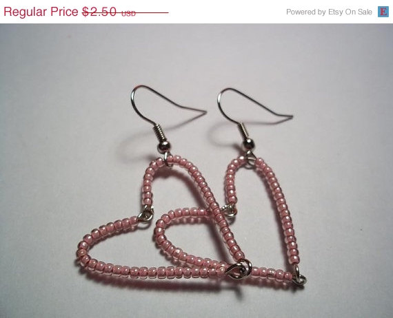 Cyber Monday SALE Pink Heart Seed Bead Earrings Valentine's Day