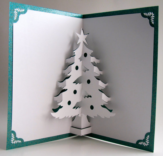 Christmas Tree Pop Up Home Décor 3D Handmade Cut by Hand Origamic Architecture in White and Shimmery Metallic Teal Green.