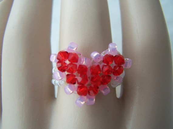 Swarovski Crystal Beaded Valentine Heart Ring Any Size