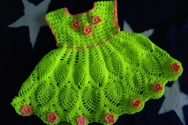 Вязание крючком детского платья 1 год