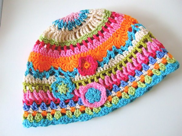 Free Crochet Pattern Spring Hat : crafts for spring : colorful hat, crochet pattern make ...