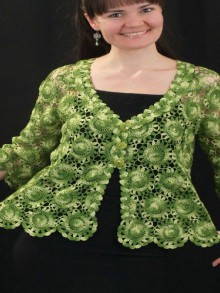crochet round flower blouse