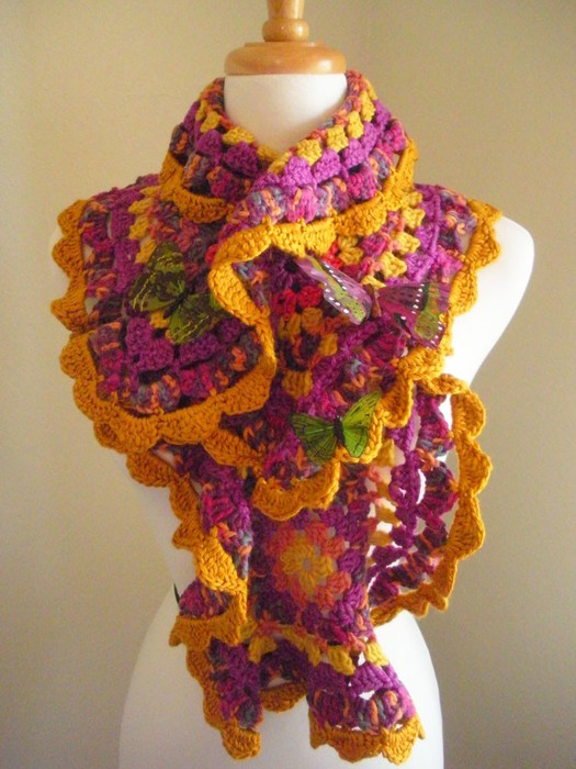 Free Crochet Unique Scarf Patterns : spring crafts: colorful scraves, free crochet patterns ...