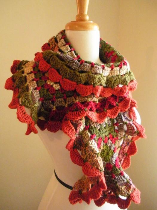 钩针编织羊绒男款围巾