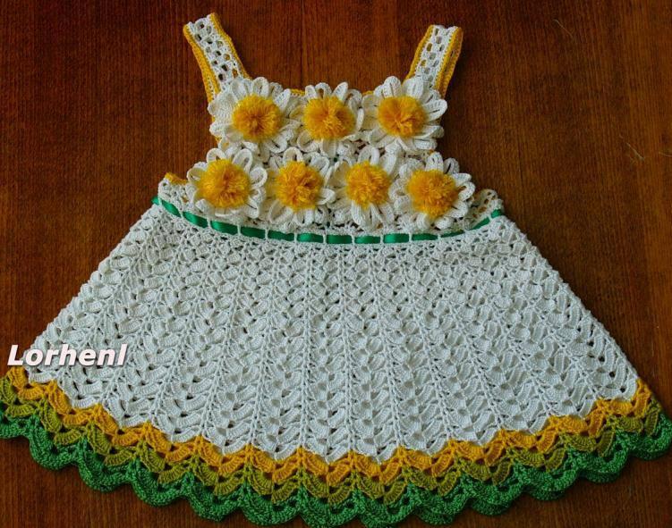 Платье детское крючком видео с ромашками