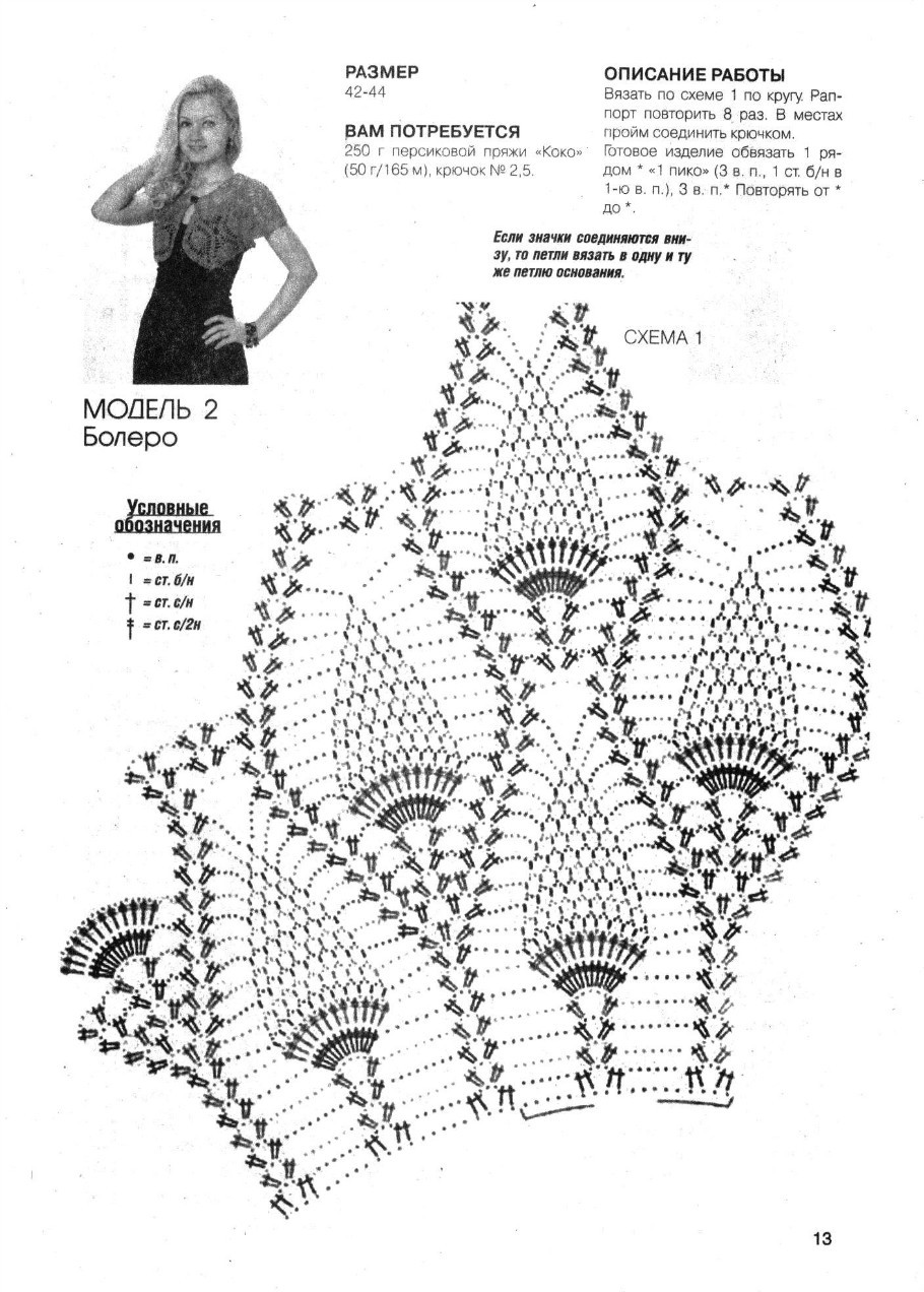 Подробное описание вязания крючком болеро