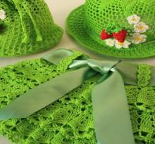 crochet ruffle, fluffy skirt and hat