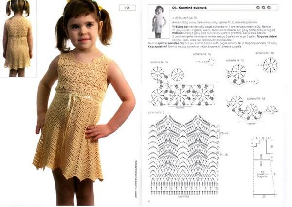Детские платья крючком со схемами для девочек на лето