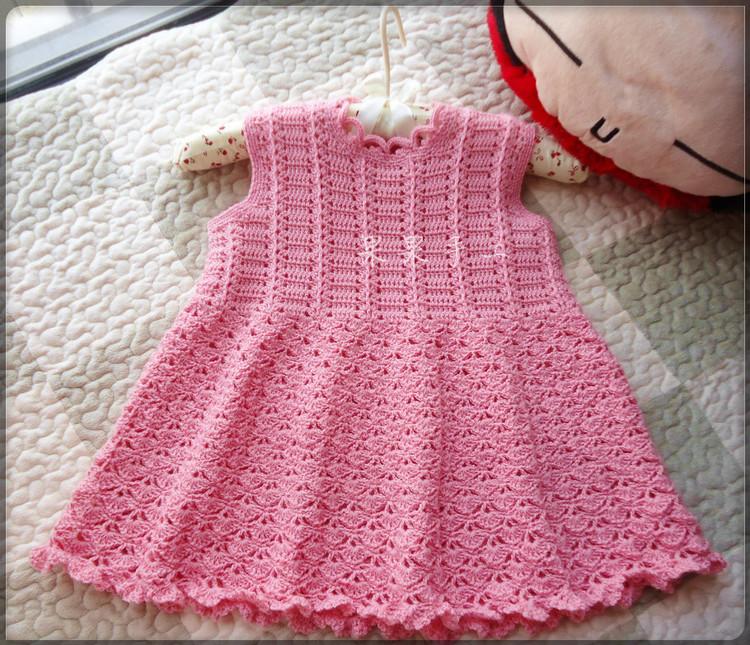 crochet pink dress for baby girl