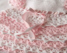 crochet pink and white baby girl dress