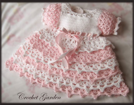Crochet Baby Clothes : crochet pink and white baby girl dress make handmade crochet craft