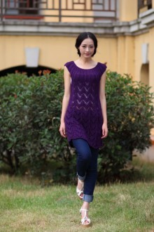 knitting purple and lilac dress
