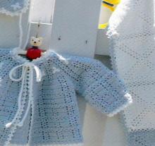 crochet baby hat, jacket and blanket