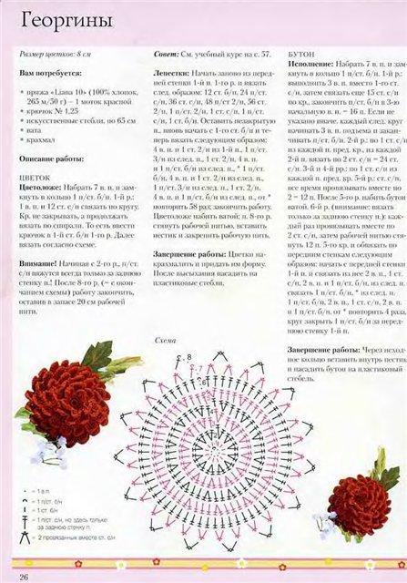 Вязаные цветы крючком схемы с описанием и
