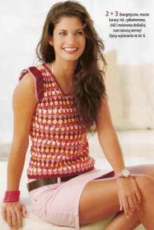 crochet colorful top with shells stitch