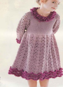 crochet fur and ruffled dress for baby girl