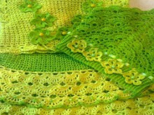 crochet green and yellow baby dress and jacket