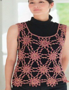 crochet lace top with snowflakes motives
