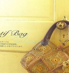 crochet motif bag with granny squares