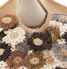 crochet motif bags with flowers