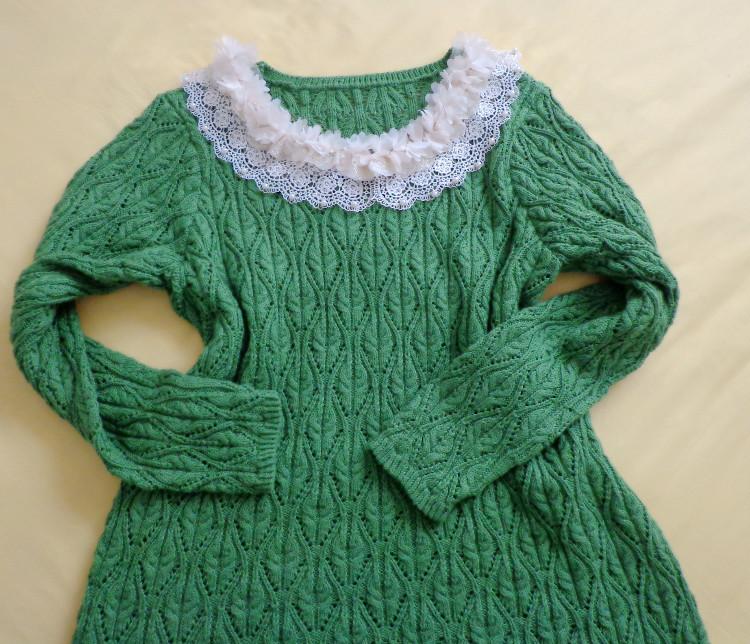 绿镂空圆领衫(1304) - 阿明的手工坊 - 千针万线