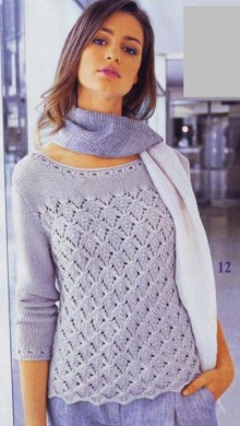 knitting fall leaves pullover for ladies