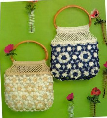 crafts for summer: cute flower bag, free crochet patterns
