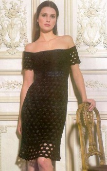 crochet black fishnet dress and and necklace