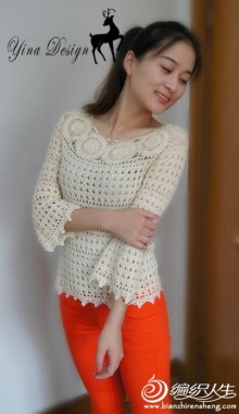 crochet charming lace pullover for ladies