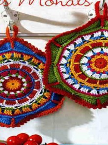 crochet christmas ornament and coaster, crochet patterns