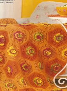 crochet flower afghan and pillow