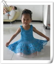 crochet peacock feather dress for little girl