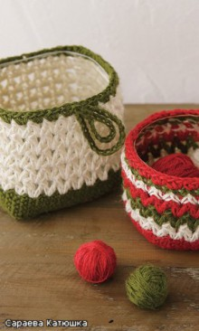 crochet round and square basket