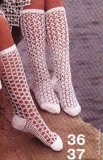 selection of crocheted fishnet knee-highs and socks ...