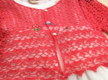 crochet baby and ladies cardigan with heart shape