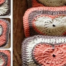 crochet heart granny square, photo tutorial