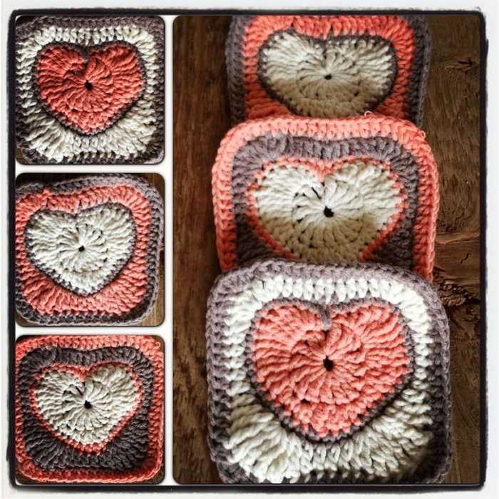 Crochet Granny Square Heart Patterns : crochet heart granny square, photo tutorial make ...