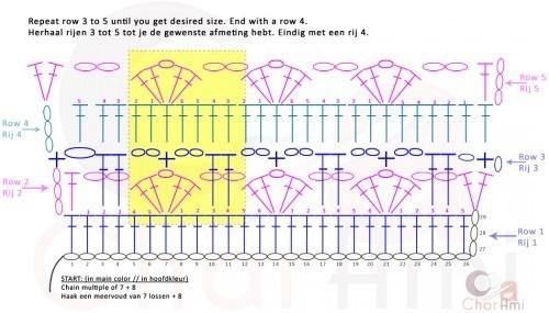 心形拼色钩针毯子 图解 - Daphne Tsui - 因为爱所以爱