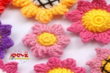 crochet sunflower hair pin for kids