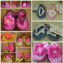 crochet baby bootties and sandals, crochet pattern and photo tutorials
