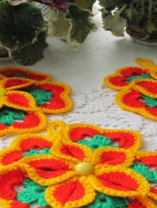 crochet beauty flower coasters, crochet pattern