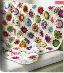 crochet beauty flowers blanket, crochet pattern