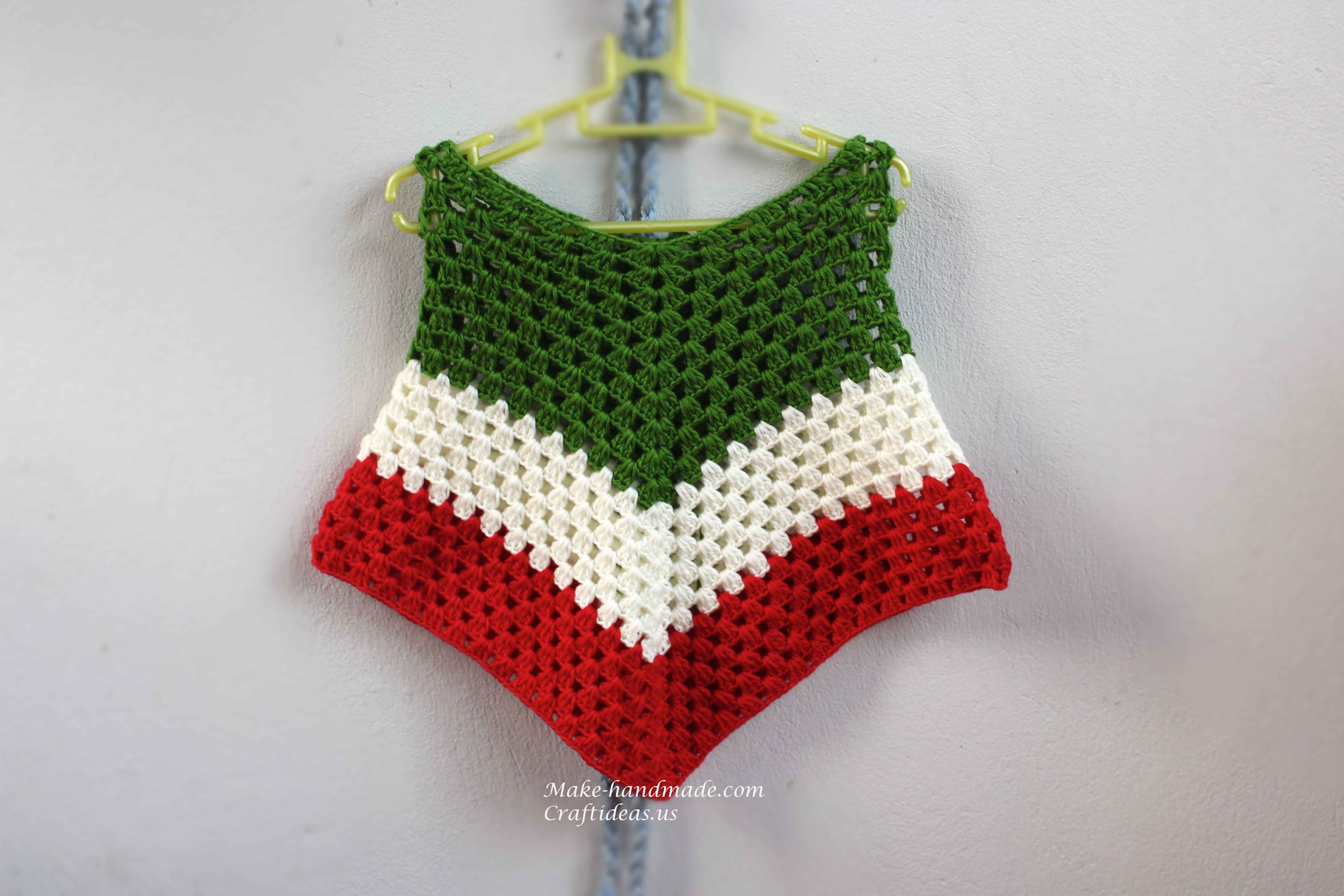 Crocheting Gifts Ideas : Crochet Christmas ideas : Crochet triangle Baby poncho