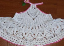 crochet baby tank top dress with pineapple stitch