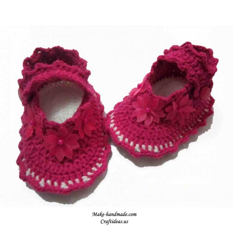 钩针编织的宝宝鞋图案大全