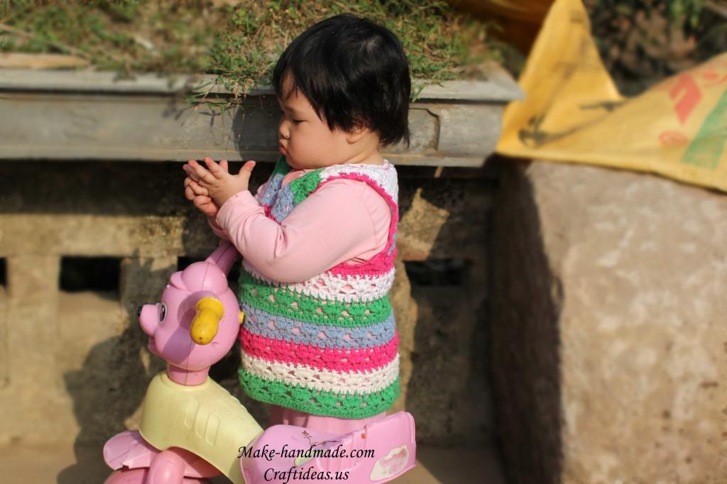 crochet baby colorful vest
