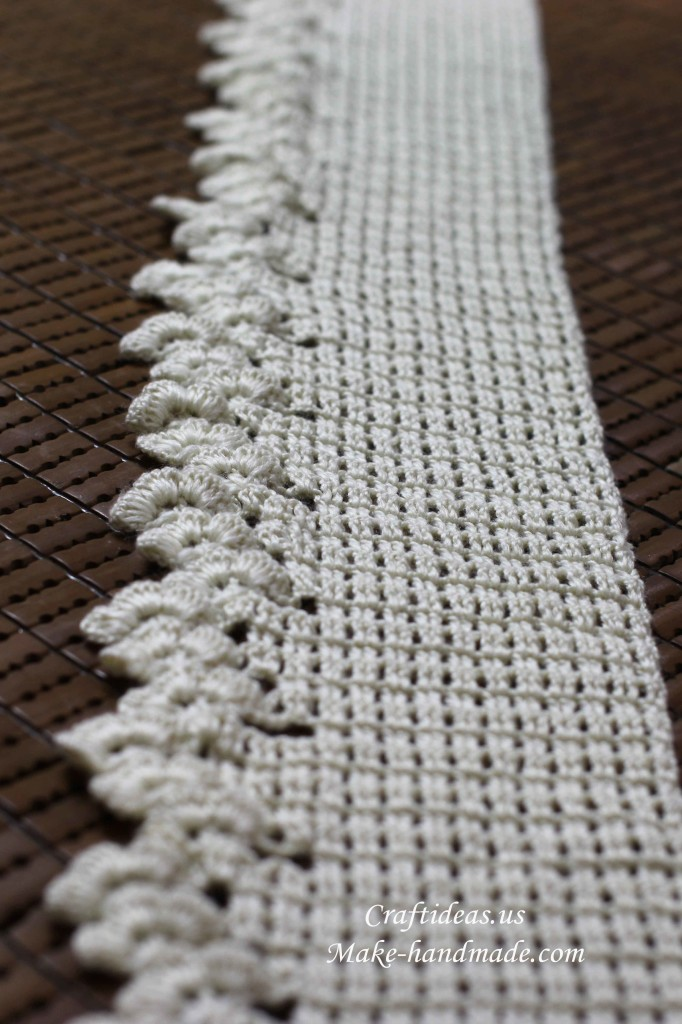 钩针花边镂空图案围巾编织图解教程