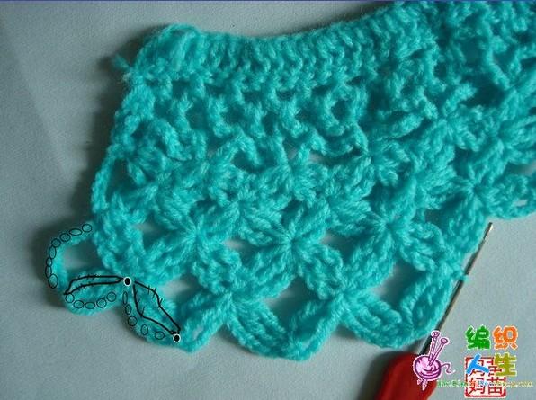 钩针编织 儿童 镂空 毛衣款式 图解   淡粉色钩针菠萝花边 镂高清图片