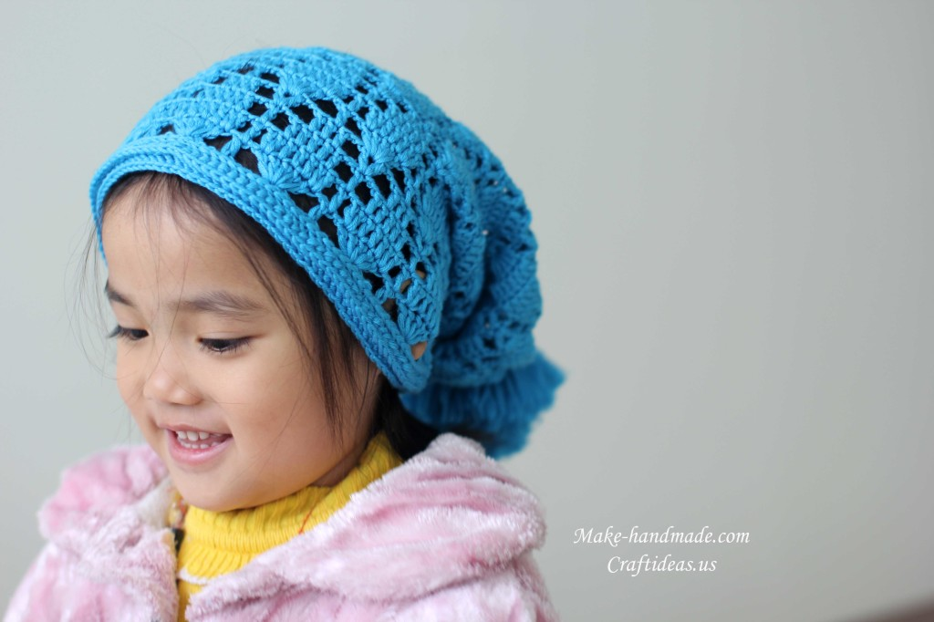 crochet lace baby hat